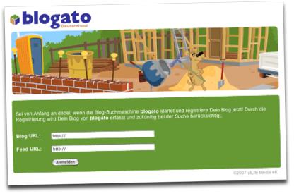 Blogato Homepage/Anmeldung