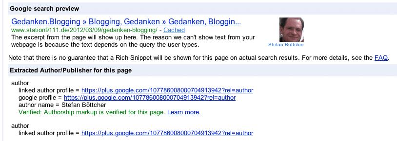 Google Urheberschaft Rich Snippet Tool