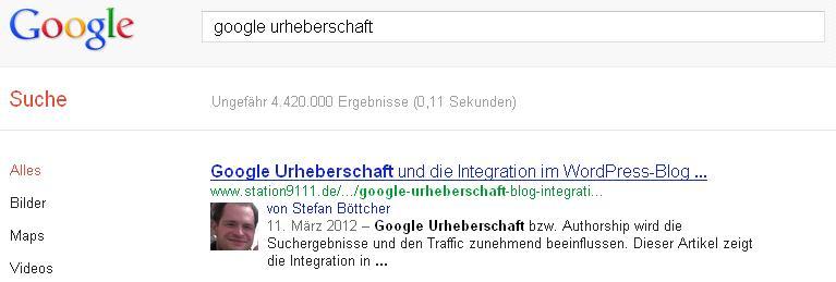 Google Urheberschaft bestätigt