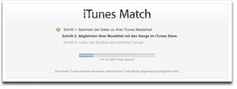 iTunes Match Schritt 2: Abgleichen Musiktitel