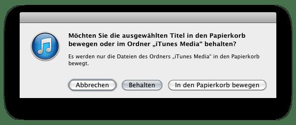 iTunes Musiksammlung leeren