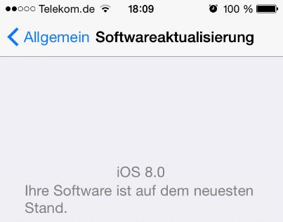 iOS 8 auf dem iPhone installiert