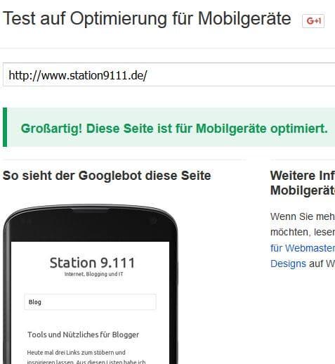 Google Test auf Optimierung für Mobilgeräte