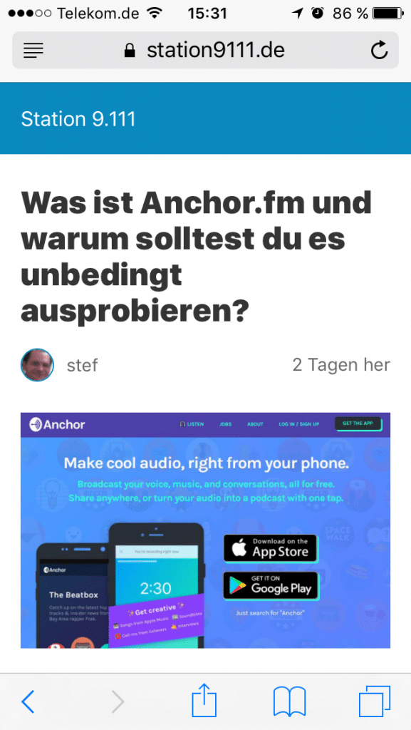 AMP - Accelerated Mobile Pages - Station 9.111 nachher