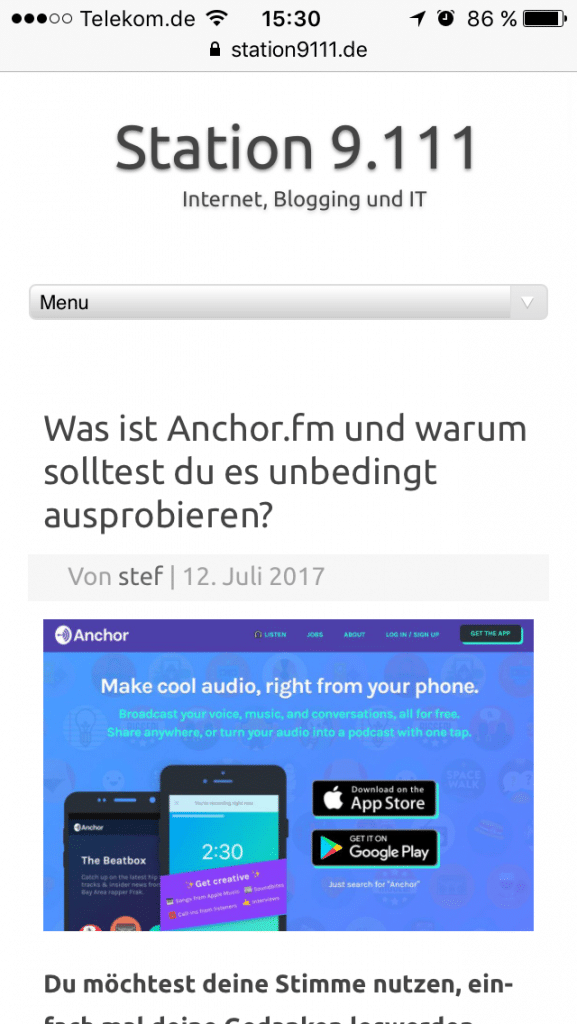 AMP - Accelerated Mobile Pages - Station 9.111 vorher