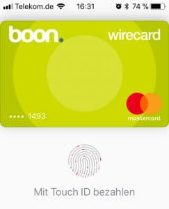 Apple Pay mit iPhone touch - Boon. App