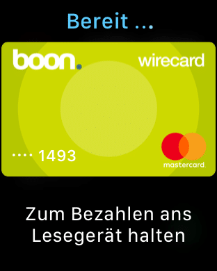 Apple Pay mit Apple Watch Series 3 - Boon. App